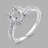 Semi Mount Ring Settings Cushion Cut 5x6mm 14K/585 White Gold Real Diamond Engagement Rings SR00234