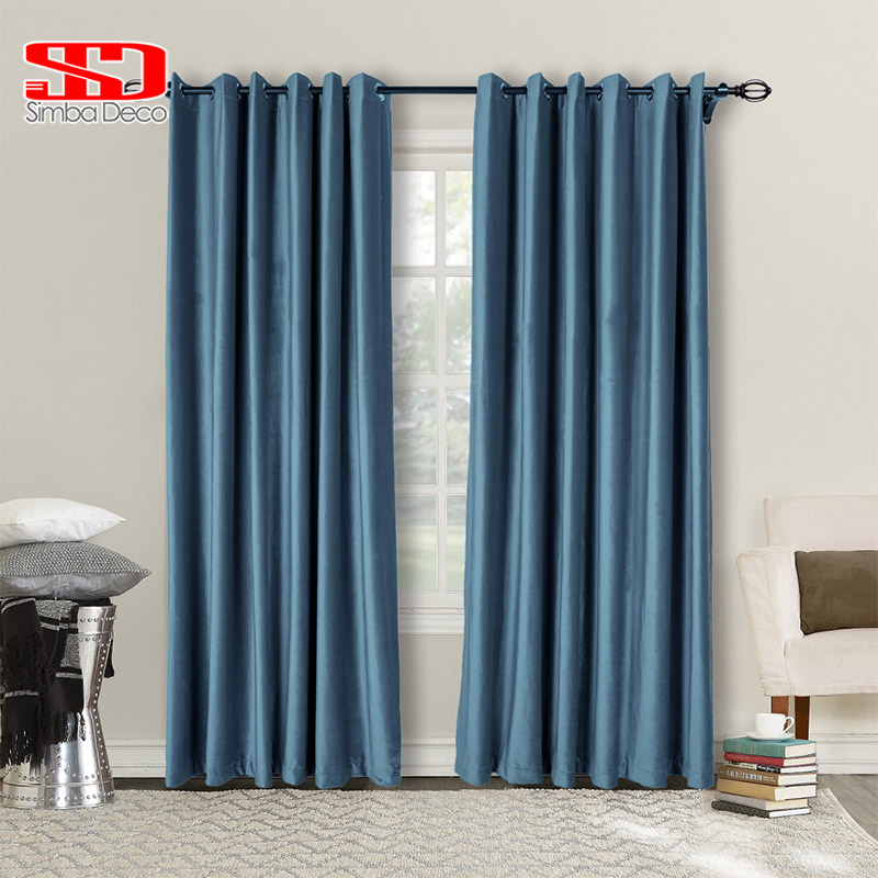 Modern Solid Velvet Blackout Curtains For Living Room Thick Green Plain Drapes Shiny Window Treatments Decoration Panel Grey