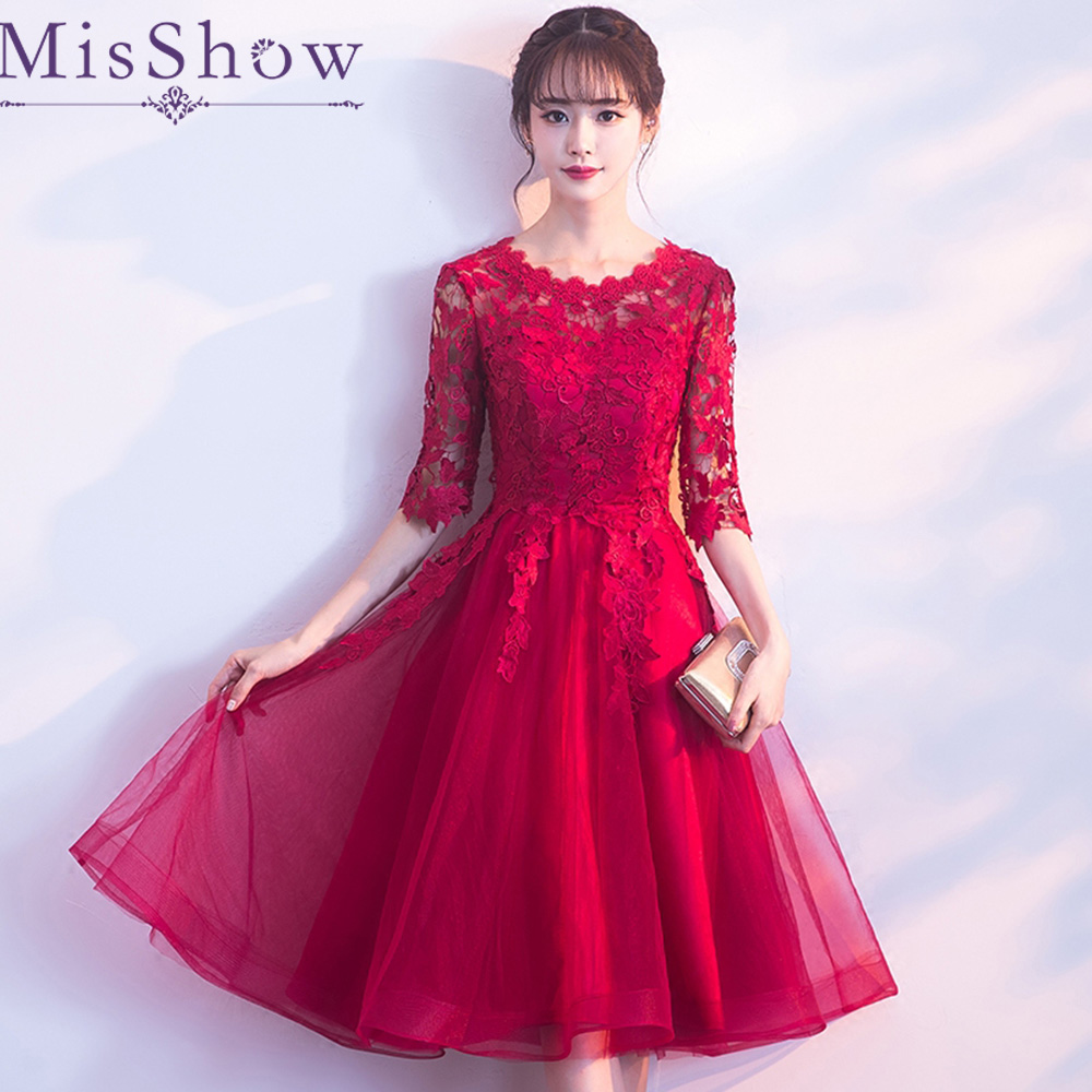 2019 scoop neck A-line   cocktail     dress   Burgundy appliques Knee length   cocktail     dress   formal party   dress   graduation party   dress