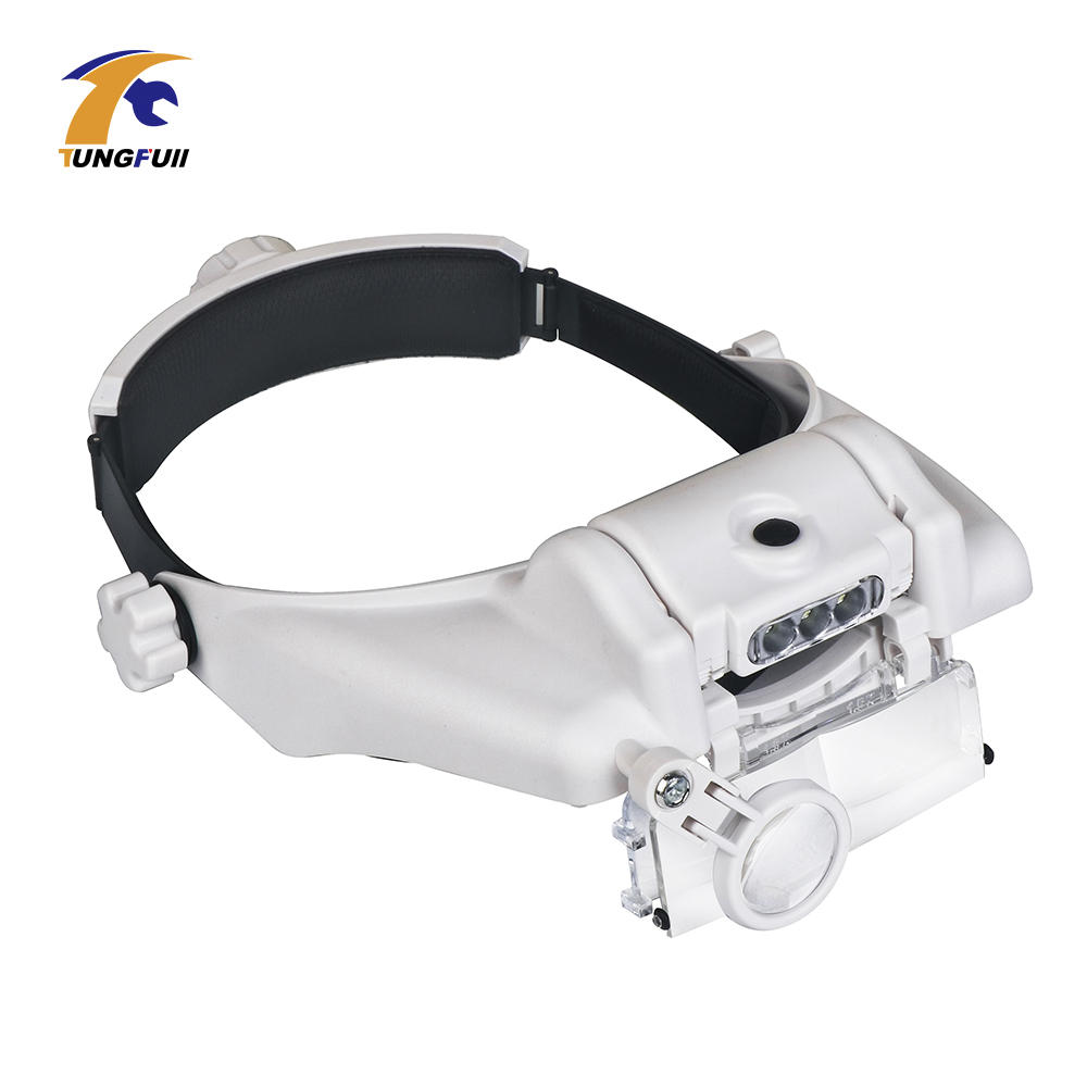 Adjustable Headband 5Lens Binoculars Magnifier 3LED Jewelry Repair Reading Magnifying Glass Third Hand Loupe PMMA Optical Lens|Magnifiers| |  - title=