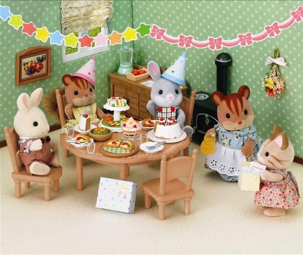 genuinos sylvanian casa familia fiesta de cumpleaos set mini torta de la pizza en miniatura dollhouse
