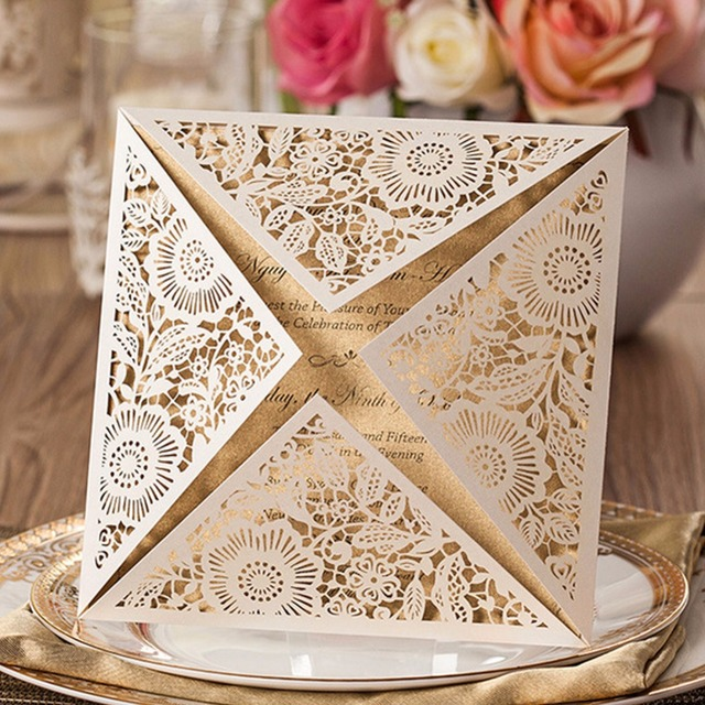 30pcs Glossy Paper Romantic Paper Laser Cut Wedding Invitation Card Best  Wish Card Delicate Carved Flower