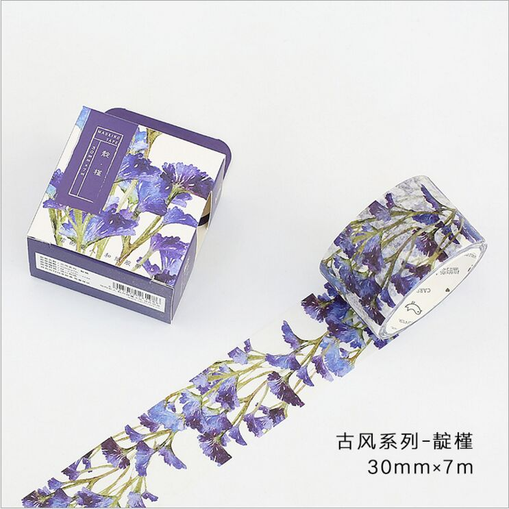 30mm Wide Ancient Dark Purple Flowers Plants Vintage Scenery Decoration Washi Tape DIY Planner Diary Scrapbooking Masking Tape