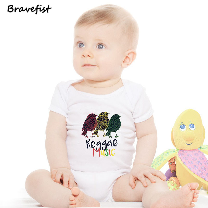 Reggae Music Chickens Newborn Bodysuits 0-24Months Short Sleeve Infant Sunsuits Baby Boys Girls Summer Clothes Kids Outfits Hot