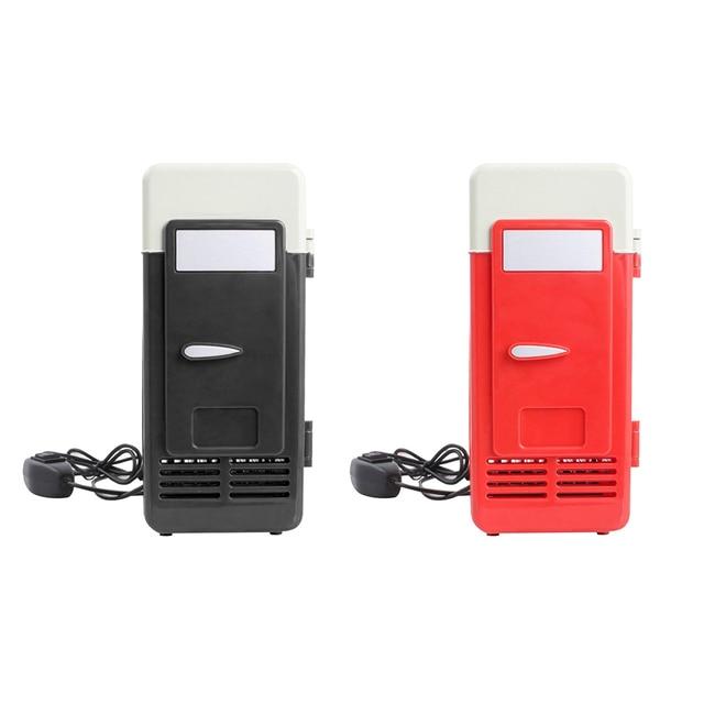 Desktop Mini Fridge USB Gadget Beverage Cans Cooler Warmer Refrigerator With Internal LED Light Car Use Mini Fridge 2