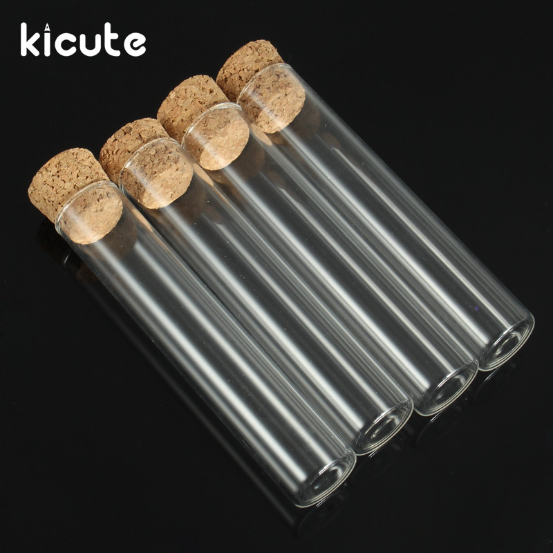 Kicute 5pcs Overvalue Transparent Lab Glass Test Tube With Cork Stoppers Flat 20*100mm Laboratory School Educational Supplies 10pcs lot transparent plastic round bottom test tube with cork stoppers empty scented tea tubes like glass 18x100mm