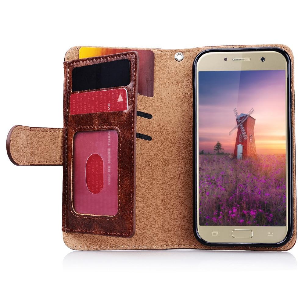 Samsung Galaxy A3 A5 A7 J3 J5 J7 2017 üçün Lüks Pu Dəri Çanta - Cib telefonu aksesuarları və hissələri - Fotoqrafiya 4