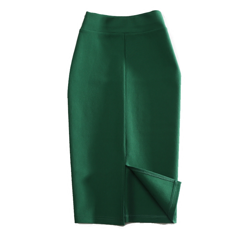 LE CELEBRE Knitting Cotton Office Lady Skirts Knee Length 2018 Summer Split Skirt High Waist Pencil Skirt Women Black Green