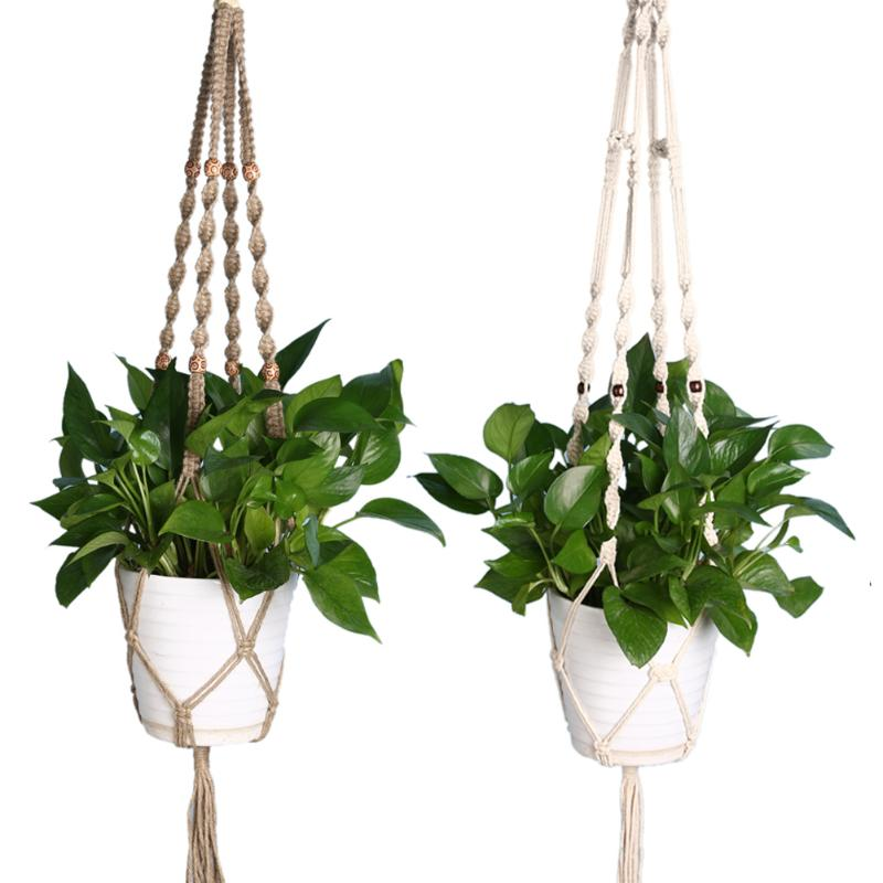 120cm String Net Decor Natural Style Durable Macrame Boho Jute Basket Flower Hanger Plant Display For Decoration Power Source Garden Pots & Planters