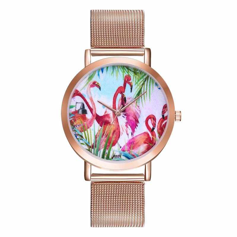 be7c6ecb078 FUNIQUE 2018 Flamingo Pattern Ladies Watch Bracelet Dress Quartz Watches  Steel Mesh Strip Women Men Clock