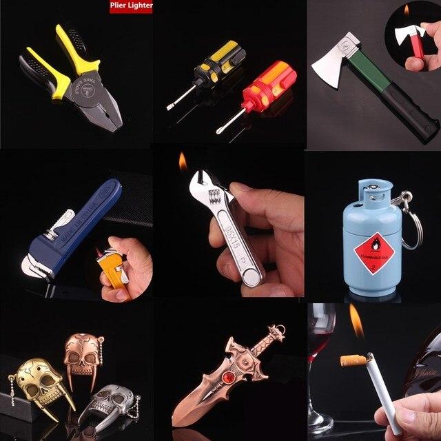 8191323d6 المحمولة البسيطة كماشة شكل ولاعة السجائر الكيروسين النفط الغاز المفك  الولاعات مضحك أدوات غاز البوتان ولاعة