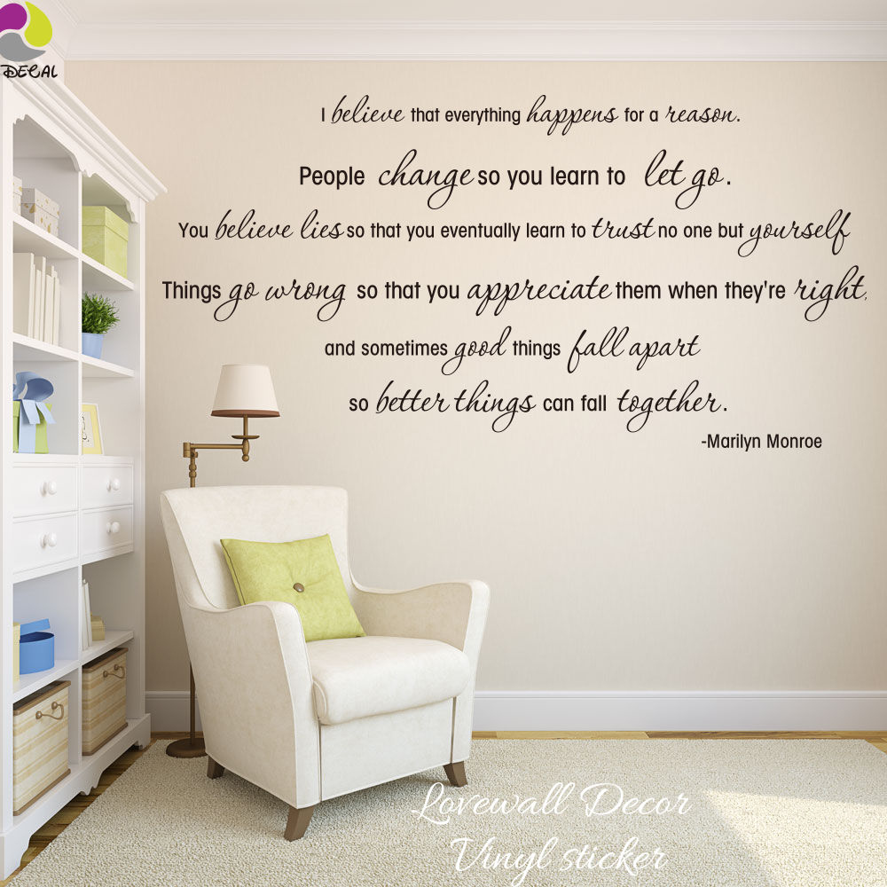Marilyn Monroe Love Quote Wall Sticker I Believe Song Lyric Quote Wall Decal Sexy Girl Inspirational Motivational Quote Decal image