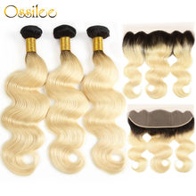 Ossilee 1b/613 Blonde Bundles With Closure Ombre Bundles with Closure Brazilian Body Wave Bundles with Frontal Closure Remy Hair(China)