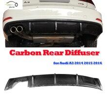 A3 Carbon Fiber Rear Diffuser Lip For Audi A3 Standard 2014 2015 2016 Auto Car Tail Bumper Diffuse Spoiler