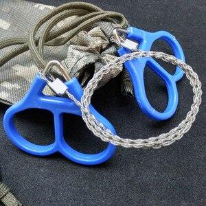 Image 4 - נירוסטה יד כיס שרשרת חוט מסורים נייד הישרדות חיתוך כלים קמפינג Handsaws כחול 65 cm