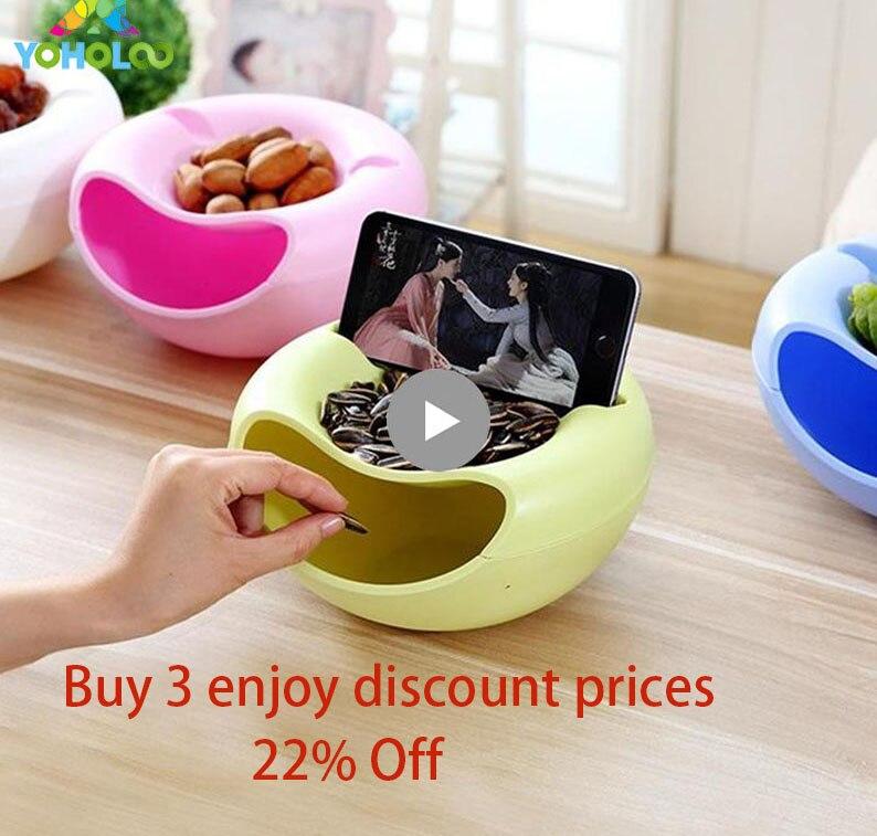 Kreative Faul Obstschale Snacks Mutter Melone Samen Schüssel Doppel Schicht Kunststoff Candy Platte Peelings Schalen Lagerung Tablett Schreibtisch Hause decor