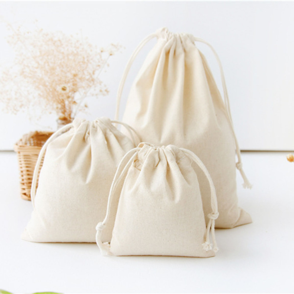 10x12/14x16/19x24/25x32cm White Drawstring Pouches Gift Blank Bags For DIY Cotton Hemp Bags Jewelry Display Packaging Storage