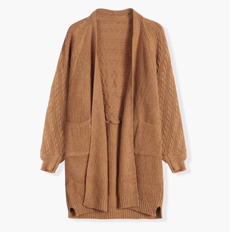 Свободный кардиган вязаный свитер пальто зима осень верхняя одежда женский