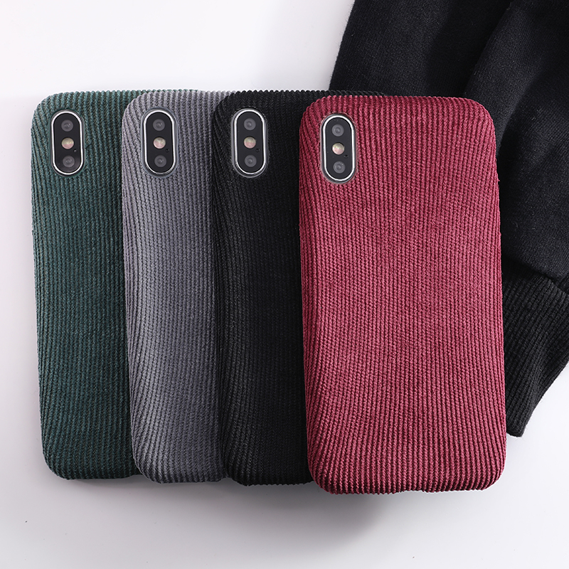 SoCouple Plush Fabrics Phone Case For iphone X 7 8 6 6S plus Case For iphone Xs max XR Cloth Texture Soft Back Cover Capa Fundas (6)