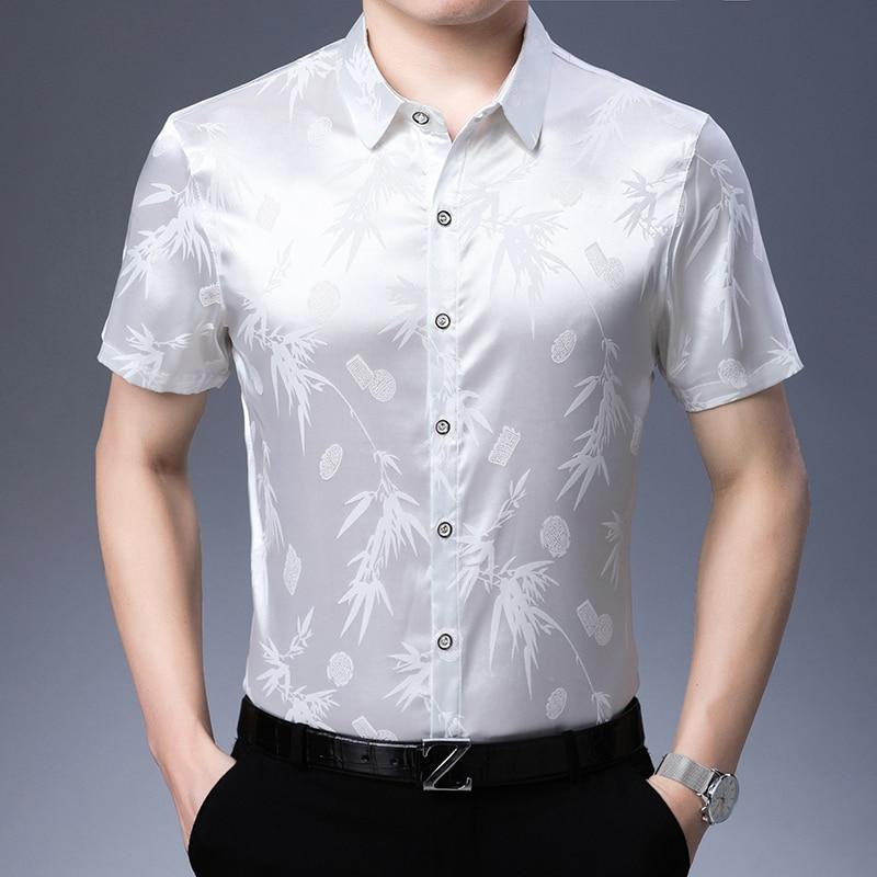 New Arrival Mens Fashion Pattern Slik Dress Shirt Elegant Male Short Sleeve Shirt Soft Silk Clothes