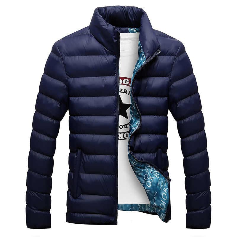 Зимняя мужская куртка 2019, модная мужская парка с воротником-стойкой, мужские однотонные толстые куртки и пальто, мужские зимние парки