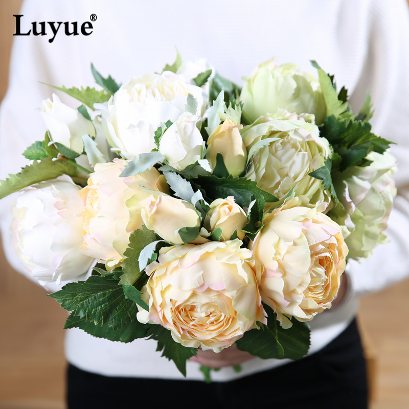 Luyue artificial peony flowers one bouquet high quality silk flowers luyue artificial peony flowers one bouquet high quality silk flowers wedding party and home decoration bridal flowers centerpiec in artificial dried mightylinksfo Gallery