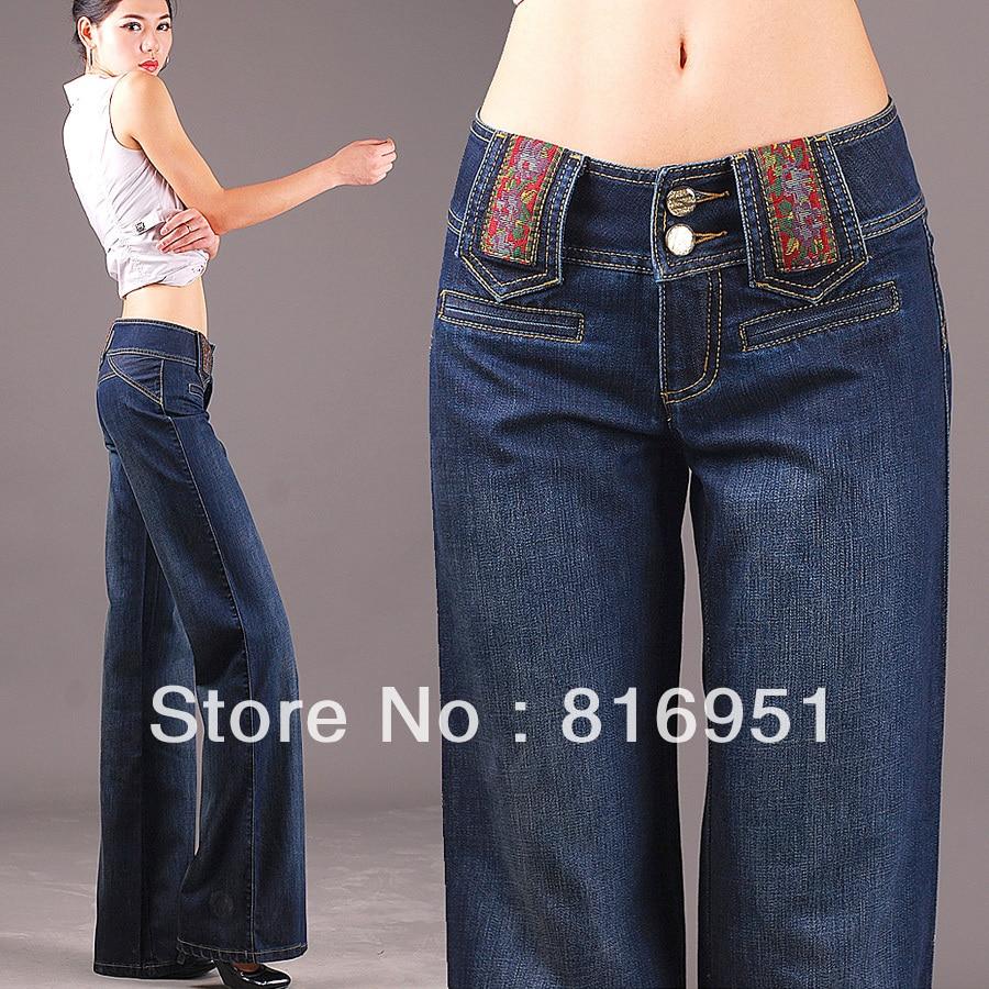 0003e42a46421 women business pants women s trousers plus size woman fashion 2013 denim  wide leg jeans-in Jeans from Women s Clothing on Aliexpress.com