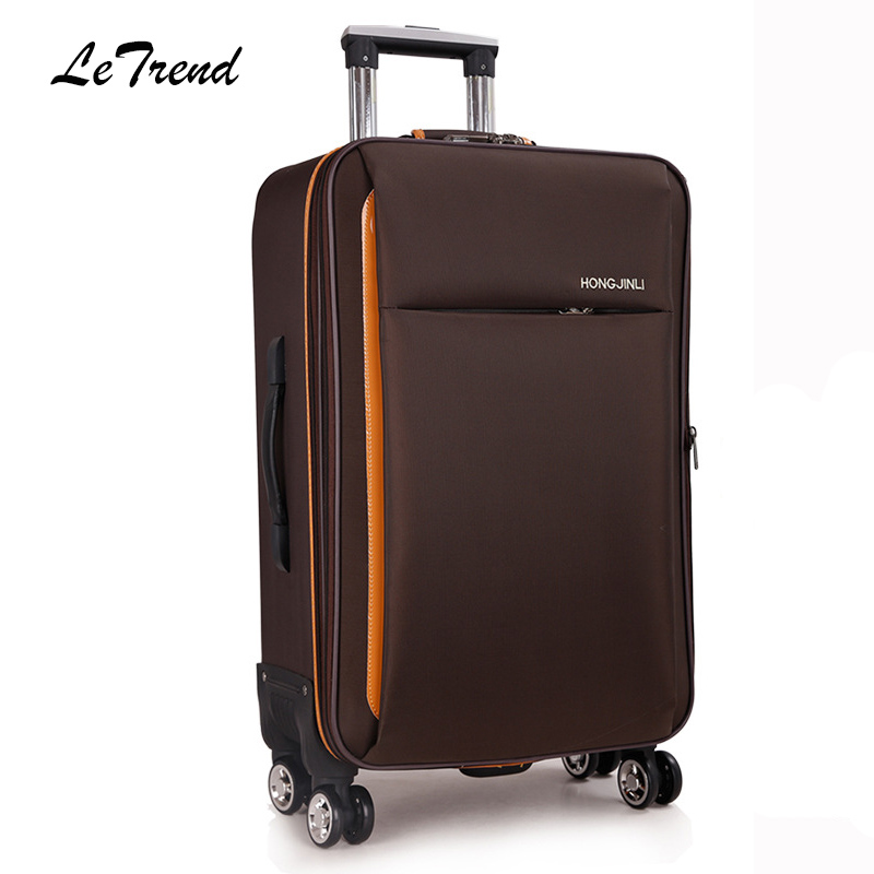 LeTrend Rolling Luggage Spinner Oxford Travel Duffle Password Suitcase Wheel Carry On Trolley Case Women Cabin School Bag vintage suitcase 20 26 pu leather travel suitcase scratch resistant rolling luggage bags suitcase with tsa lock