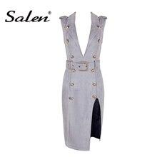 Salen Fashion Deep V Split Bodycon Party Dresses Women Sexy Sleeveless Bodycon Club Dress Lady Summer  2017 New Arrival