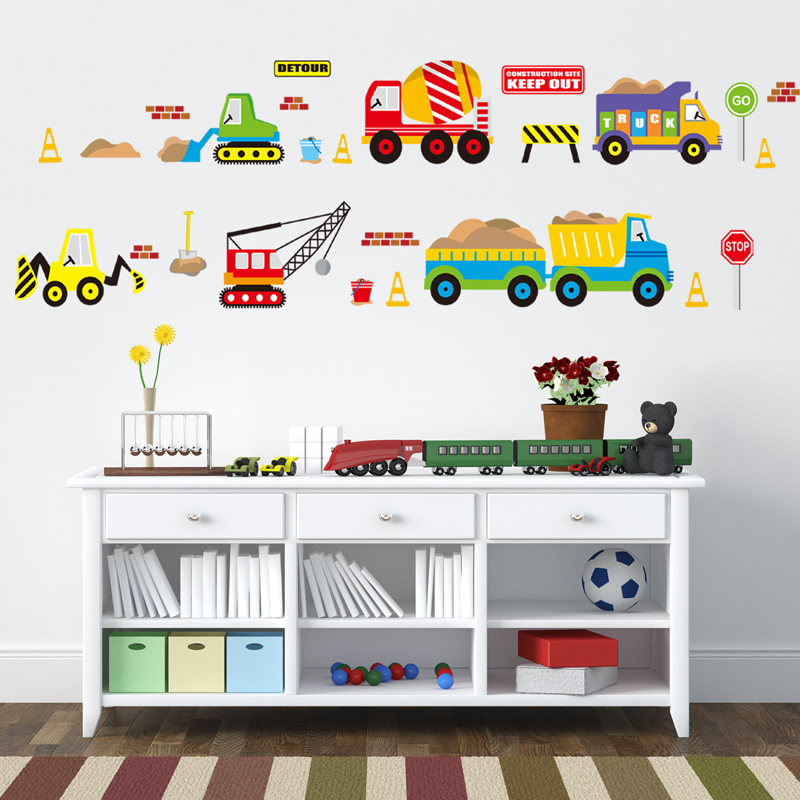 US $3.55 16% OFF|Cartoon cars kids room wall sticker for Children\'s room  baby bedroom wall decals window poster 3D car stickers wallpaper-in Wall ...
