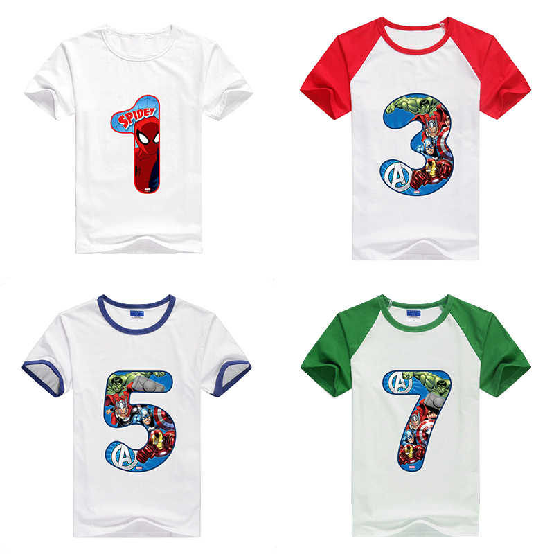 Number Tops Children Clothes Tee Kids Happy Birthday Avengers No19th T Shirts Boy