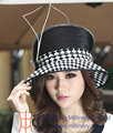 Free Shipping Hot Sale Fashion Winter Hat New Arrival Ladies PolyesterFeather Diamond Casings Satin Dress Hats For Women