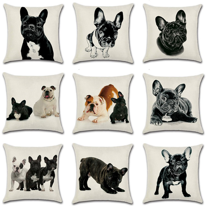 French Bulldog Cushion Cover Cotton Linen Cute Dog Decorative Cushions for Sofa Home Decoration Pillow Case 45*45 10211