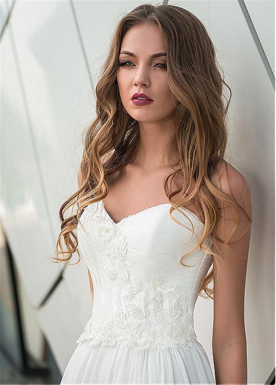 Summer Modest Chiffon Lace Appliques Sweetheart A-line 2019 Muslim Arabic Wedding Dress Boho Sofuge Vestido De Noiva
