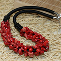 Charming natural red coral fashion irregular gravel chips beads diy European style necklace earings jewelry set 18inch B520