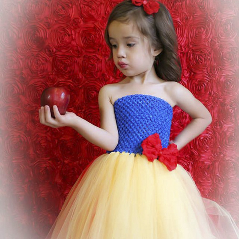 Inspired Handmade Princess Snow White Red Blue Yellow Tutu Dress Girl Lined Birthday Party Gown Cosplay Custom Special Dress-up sexy princess dress uniform red yellow blue free size