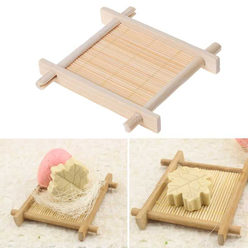 Bamboo Wooden Handmade Bathroom Soap Dish Holder Drain Storage Rack Shower Rack