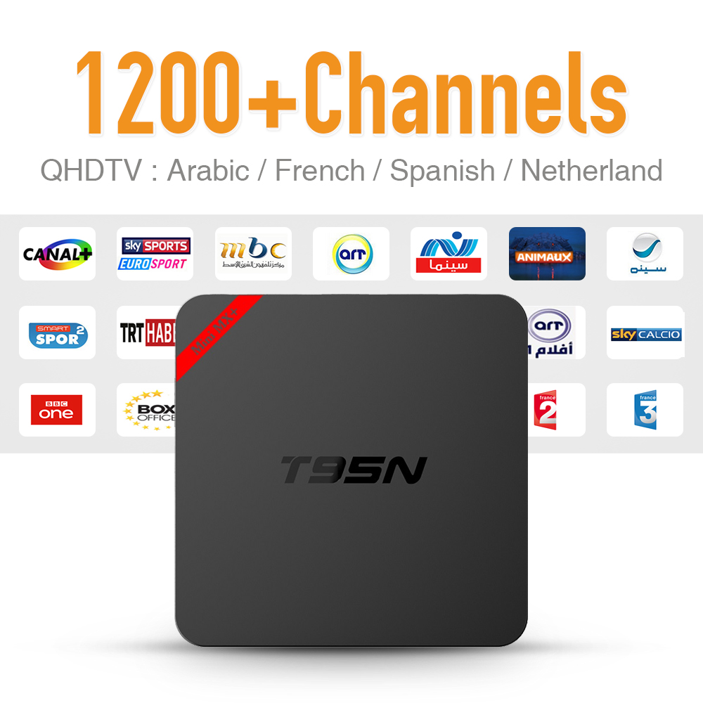 Súper T95N Android 6.0 Smart TV Box con 1200 Iptv Árabe europa Deporte Canal Can