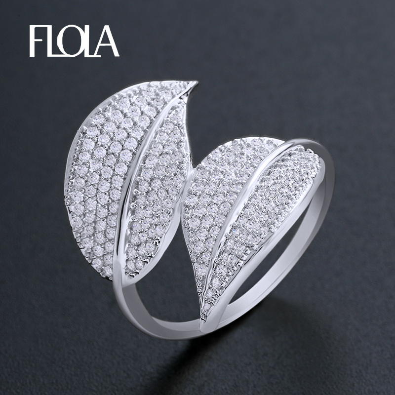 dd3fae780af7 Anillo de plata de hoja de FLOLA para mujer aaa Zirconia cúbica anillo de  señora con accesorios de ...