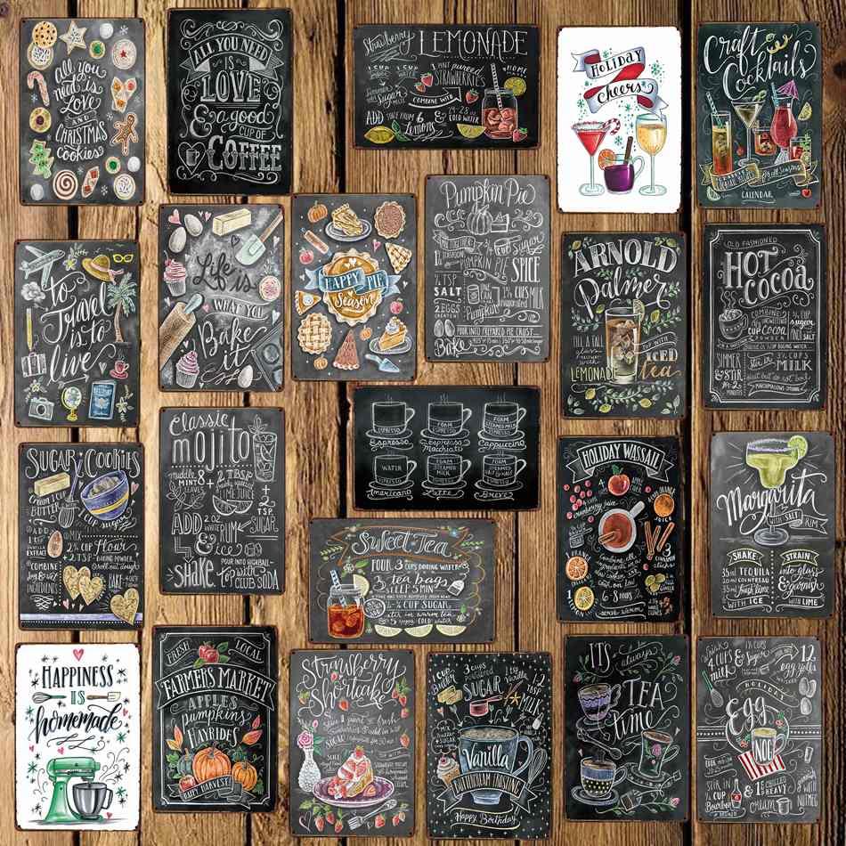 [Wellcraft] café cocktail amor bolo chá estanho sinais placa de parede personalizado metal pintura antigo presente bar pub decoração LT-1704