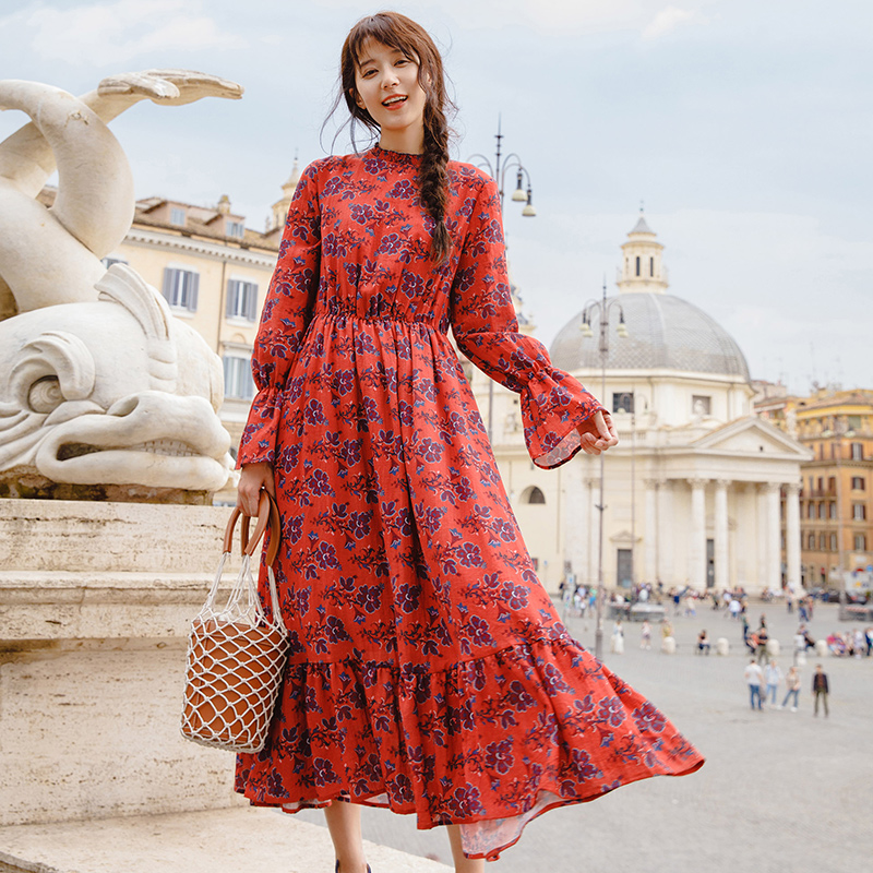 INMAN 2019 Spring New Arrival Stand Collar Flower Print Elastic A Line Women Long Sleeve Dress