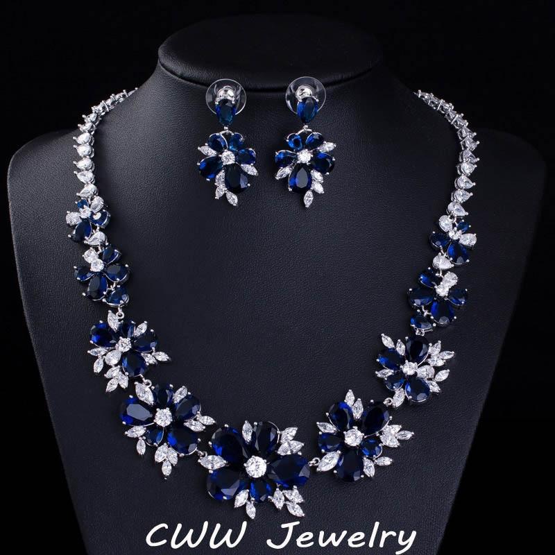 CWWZircons Blue CZ Bridal Jewelry Big Cubic Zirconia Stone Flower Wedding Choker Necklace Earrings Sets For