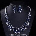 Сапфир синий CZ ювелирных изделий с бриллиантами свадебные большой кубический цирконий каменный цветок свадебные колье серьги комплекты для женщин T153