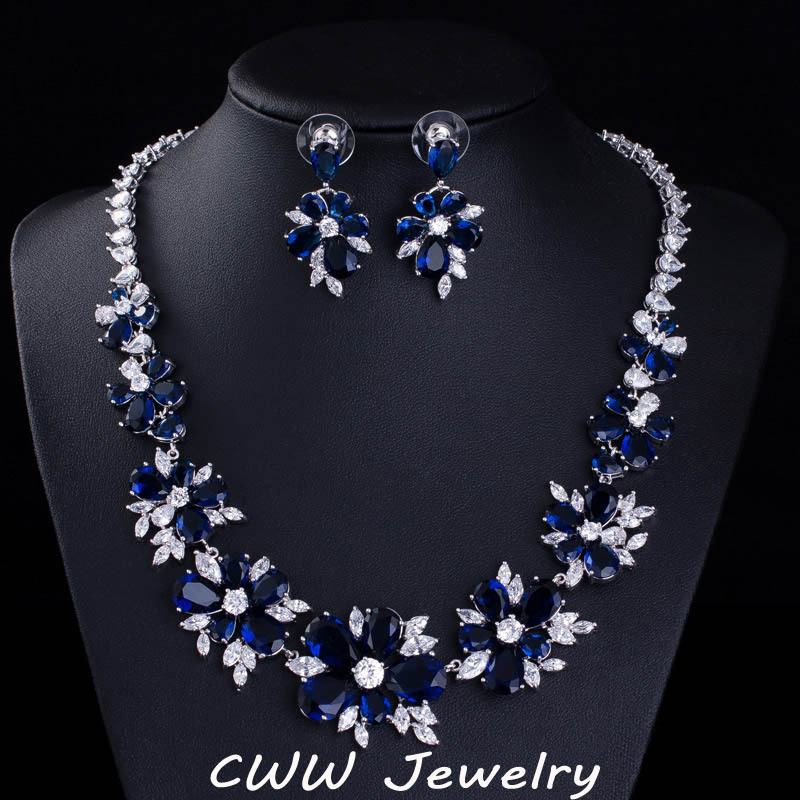 Aliexpress Com Buy Sapphire Blue Cz Diamond Bridal