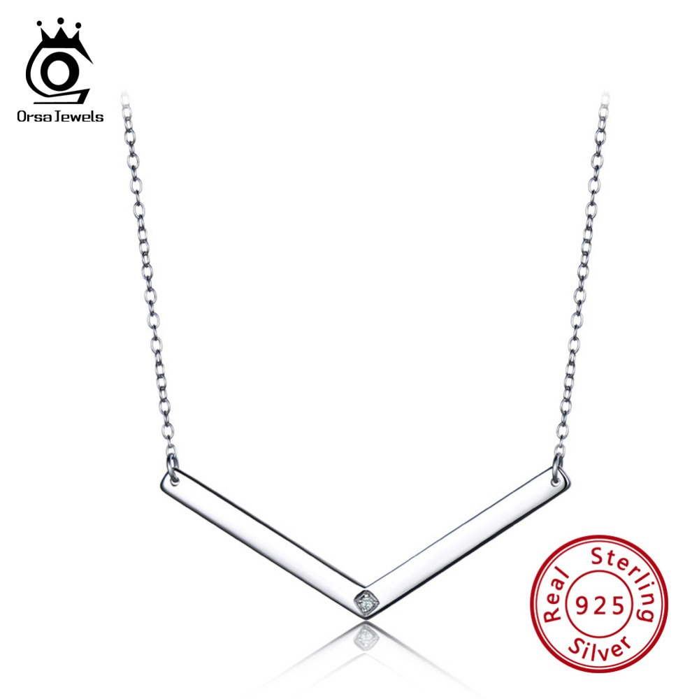 ORSA JEWELS Actual 925 Sterling Silver Ladies Pendants AAA Shiny V Form Necklace Feminine Silver Nice Jewellery Celebration Presents VSN02 Necklaces, Low cost Necklaces, ORSA JEWELS Actual 925 Sterling...