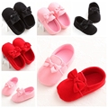 Sweet Fashion Baby First Walkers Bow Cotton Newborn Toddler Soft Prewalker Baby Girls Mary Jane Shoes Bebe Princess Crib Shoes