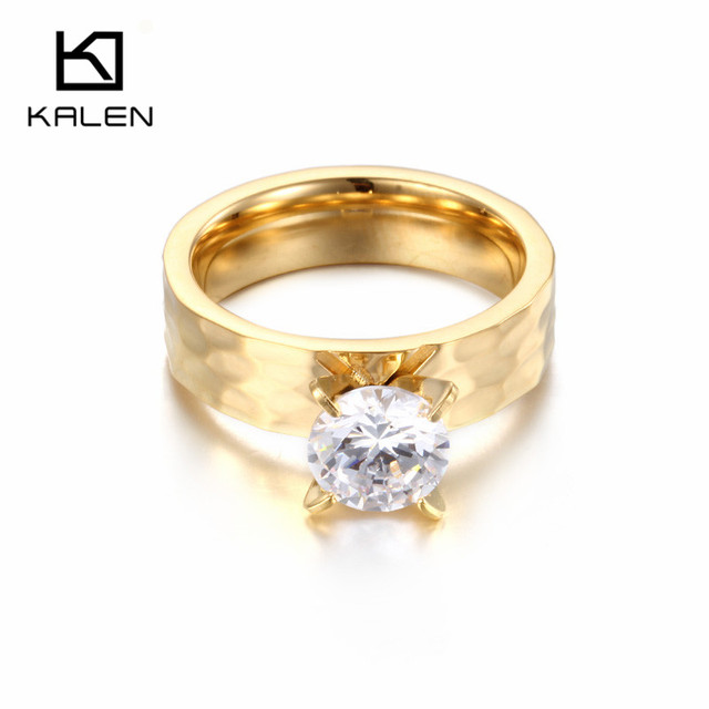 1pcs turkish gold color cubic zirconia womens rings jewelry classic 6mm round wedding invitations wedding accessories - Turkish Wedding Ring