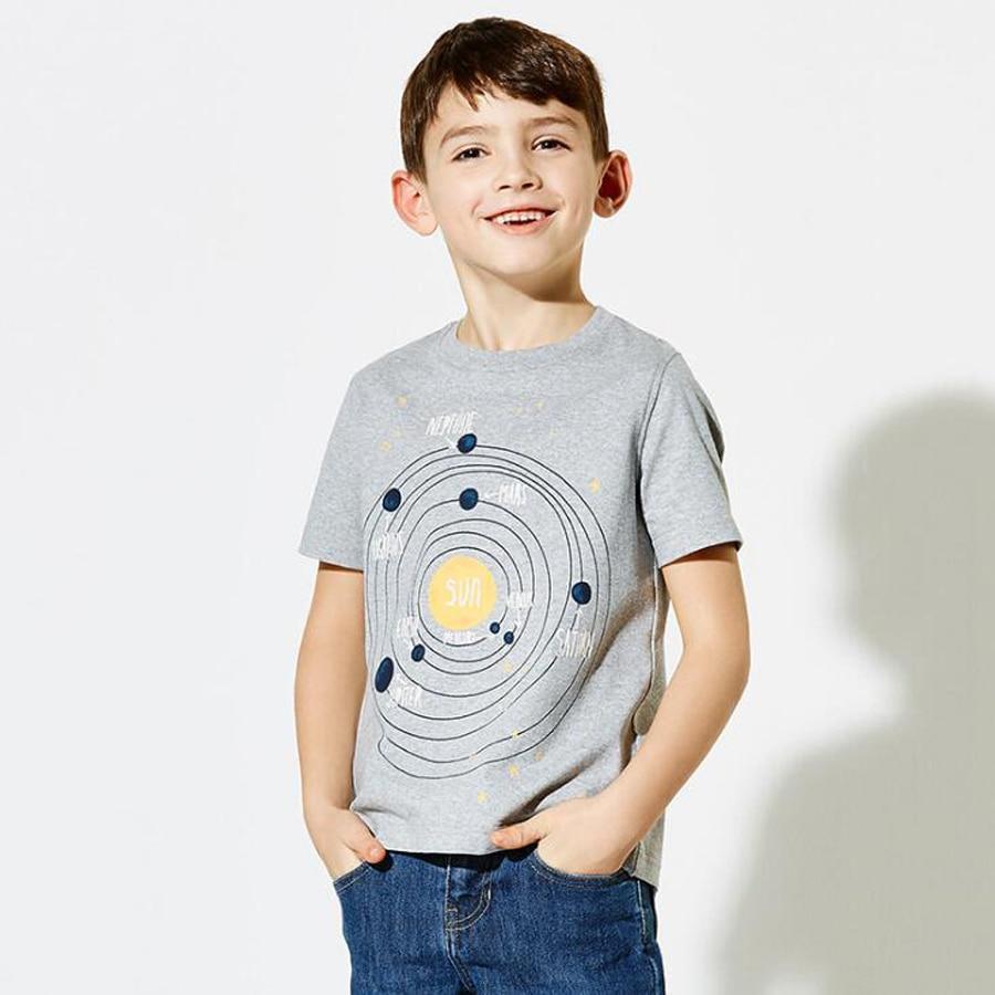 (От 4 до 10 лет) 7 шт./1 Лот Детские футболки милый Семья Граффити футболка для мальчиков короткий рукав для маленьких мальчиков Футболки 2018 Дем...
