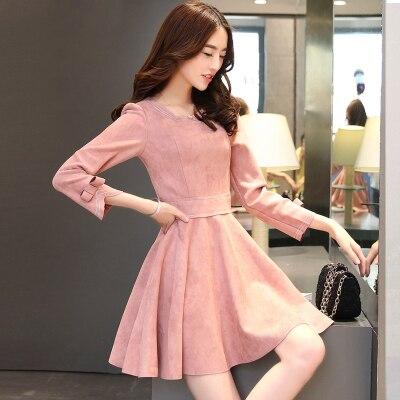 2017 Baru Musim Gugur Musim Semi Lengan Panjang Dress Temperamen