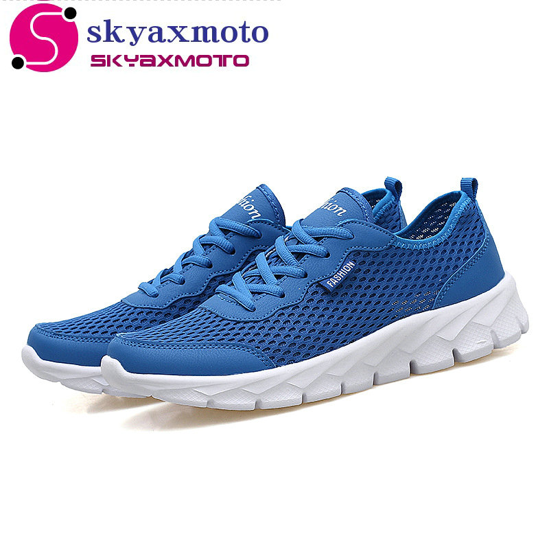 skyaxmoto Men Casual Shoes Summer Fashion Breathable Men Shoes Lace Up Flat Mesh Shoes Plus Size 35-48 men casual shoes lace up mesh men outdoor comfortable shoes patchwork flat with breathable mountain shoes 259